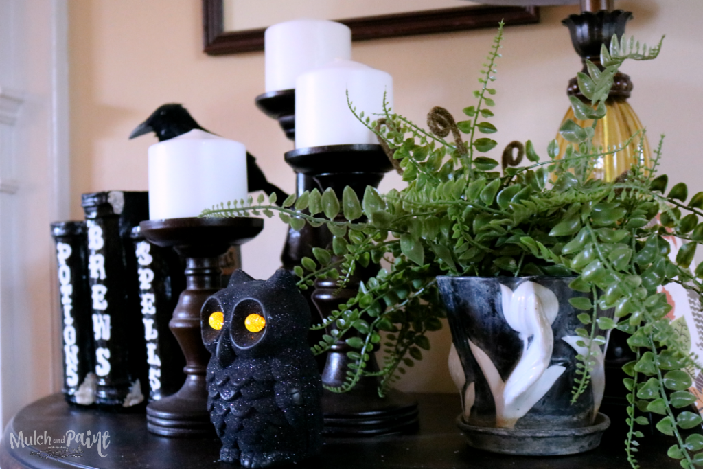 Black and White Halloween Decor, Black and White Mantle