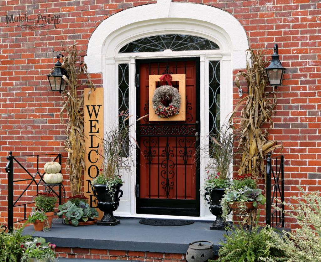 Welcome Sign Tutoria-Fall front porch-pumpkins-mums-pansies