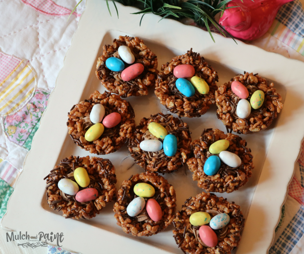 Cocoa Rice Krispies Treat Birds Nests with robin eggs