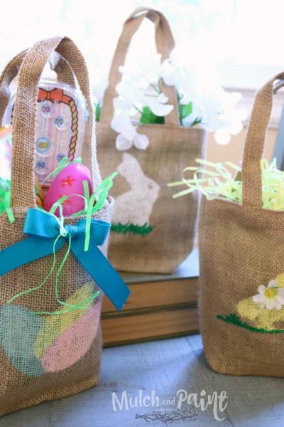 Potato stenciled Easter bag, Easter bag, Potato stencil
