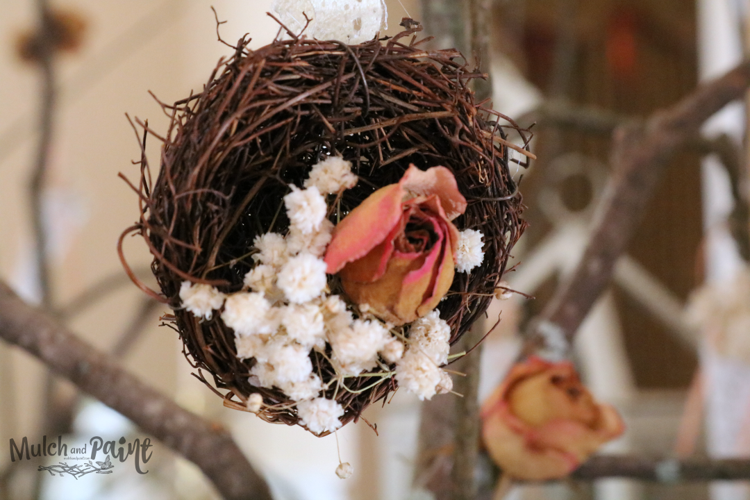 Victorian Easter Tree, Easter Tree, Spring Tree, bird nest, dried rose