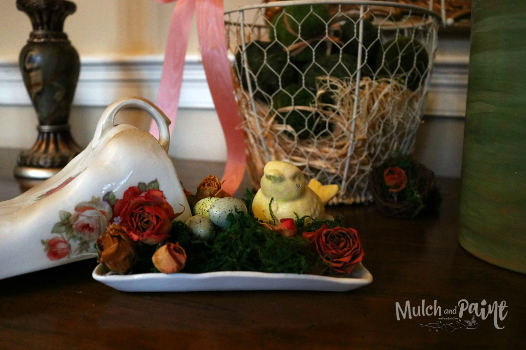 Victorian Easter tree decorations, Easter Tree, Dried roses