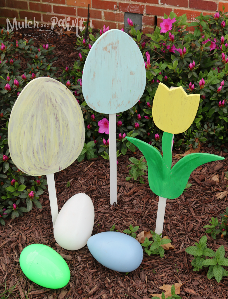 Wooden eggs and tulips for Easter