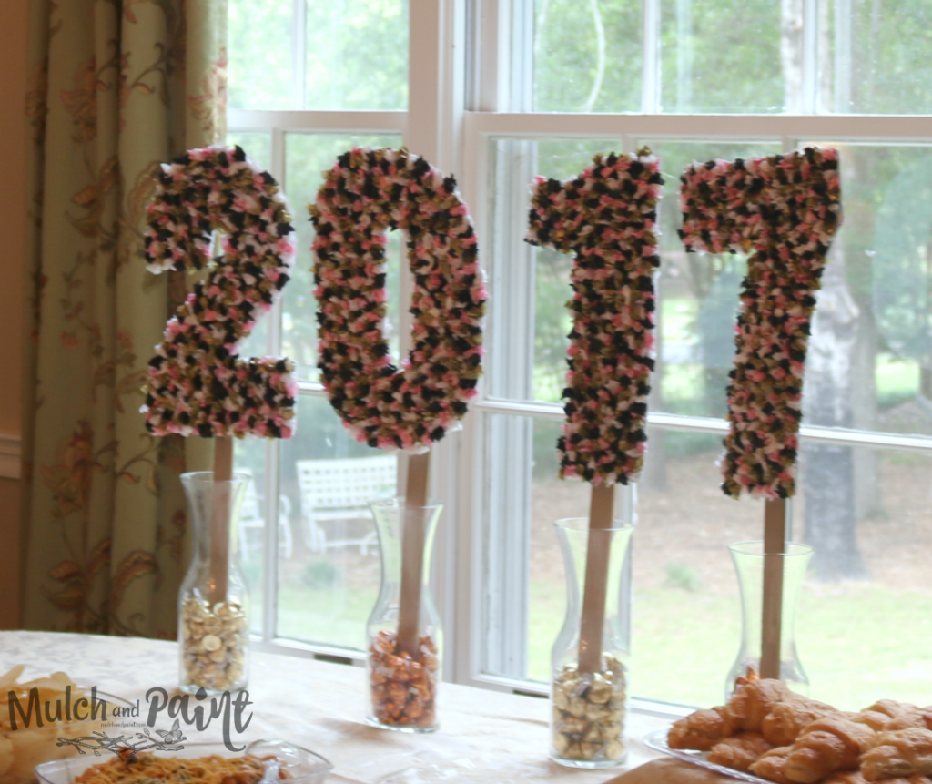 Tissue Paper Numbers for Graduation Party