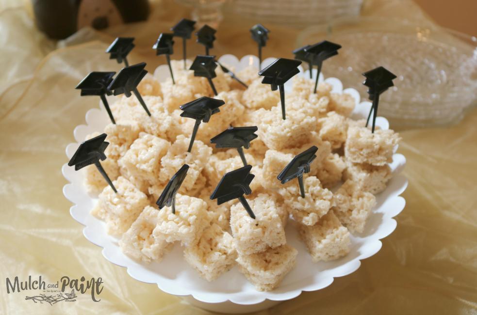 Graduation Rice Krispy Treats for Chocolate Fountain