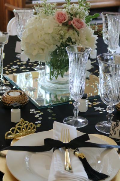 Graduation luncheon tablescape, formal table decor, luncheon table decor