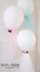 Birthday Tea Balloons, Tea Party Decorations, Tea Party Ideas, Balloons decorated with tulle