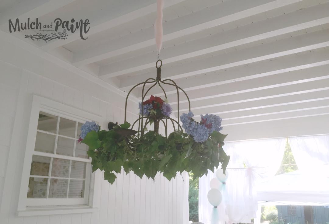 Birthday Tea Party floral chandelier, Tea Party, Tea Party Decorations, Floral Chandelier