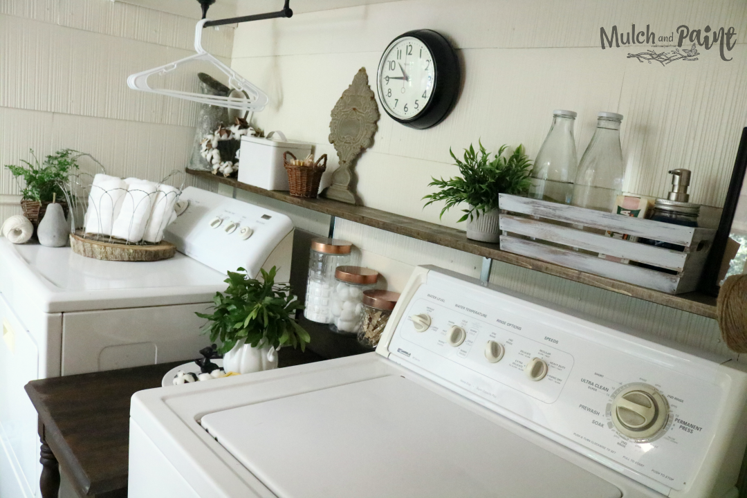 Laundry Room Makeover After with Shelf