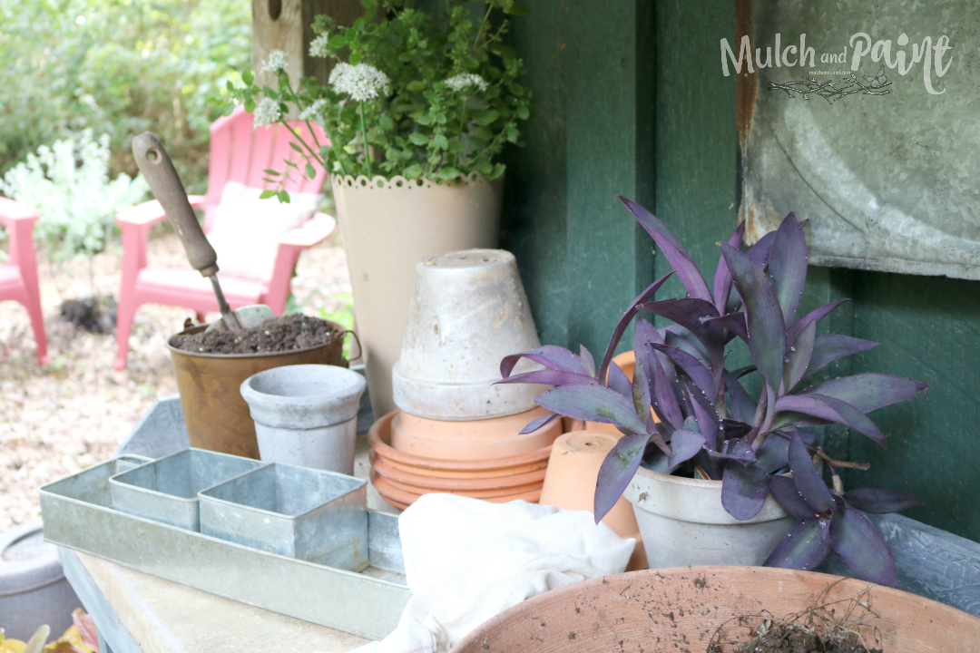 Potting Bench Refreshed for the Summer, Potting Bench Makeover, Potting Bench Decor