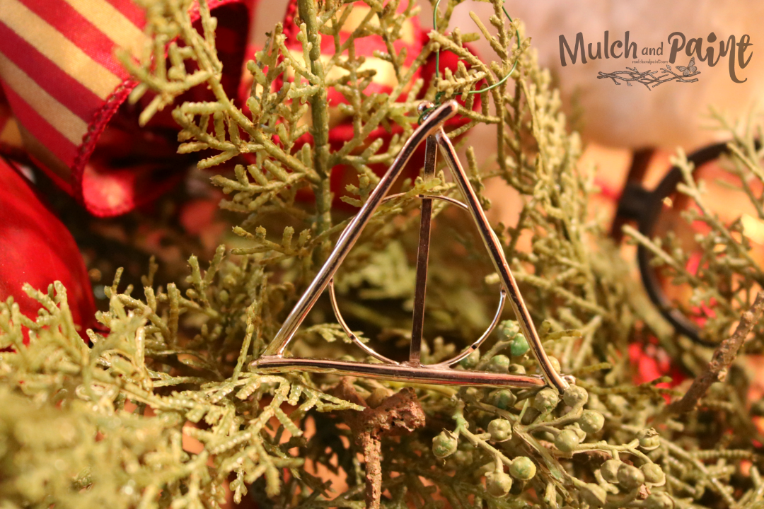 Harry Potter Deathly Hallows Christmas Ornament made with jewelry pieces from Hobby Lobby