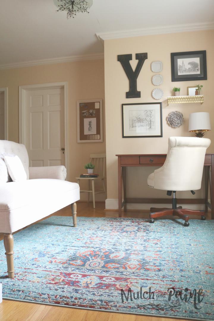 Loft decor with area rug from Joss & Main, home office decor