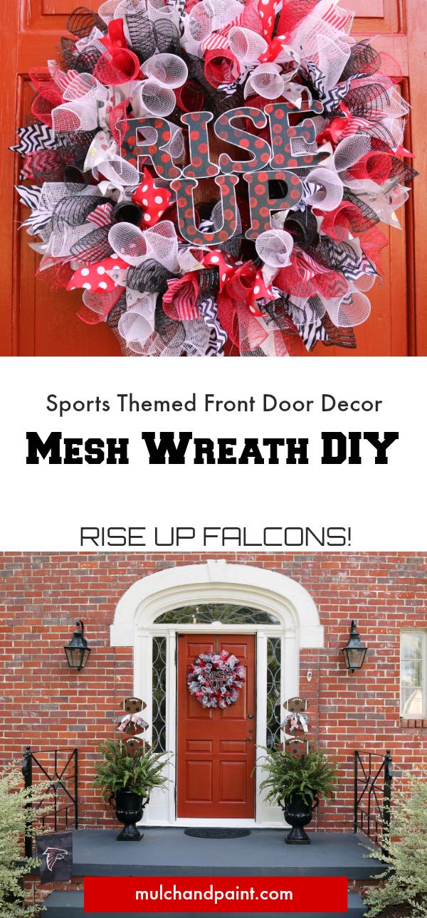 Sport Themed Mesh Wreath DIY, Atlanta Falcons, Atlanta Falcons Decor, Rise Up Decor
