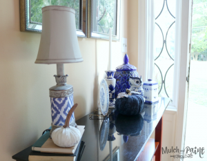 Blue Fall Decor with fabric pumpkin DIY from Dollar Tree pumpkin