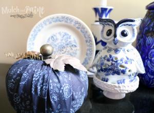 DIY fabric pumpkin in blue and copper