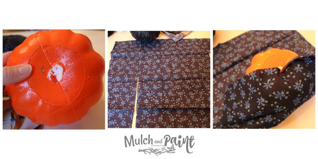 Fabric Pumpkin DIY with Dollar Tree pumpkin Steps 1-3