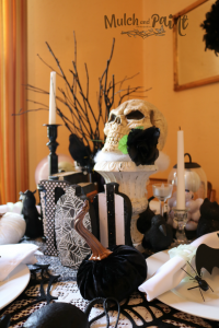 Halloween table decorations in black and white