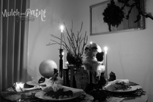 Spooky Halloween tablescape in black and white