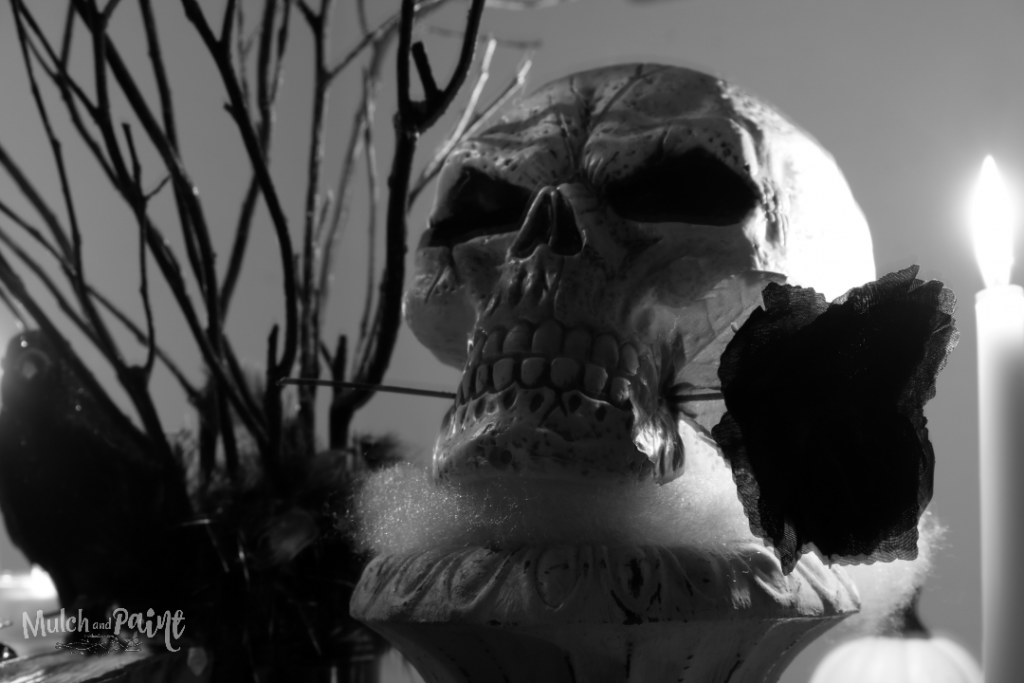 Spooky Halloween tablescape in black and white with skull