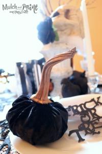 Velvet pumpkin on Halloween tablescape