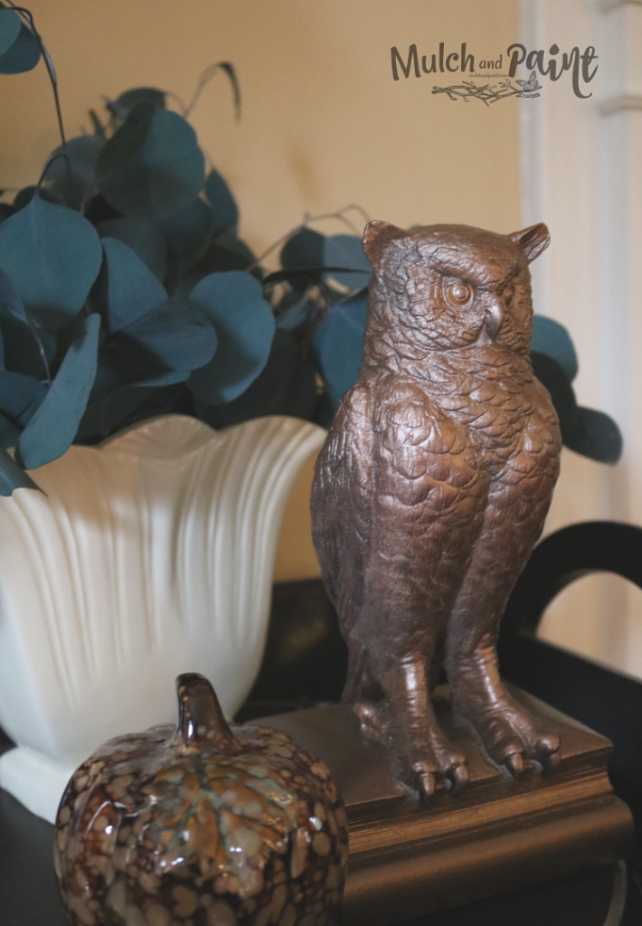 Fall Decor with gold owl