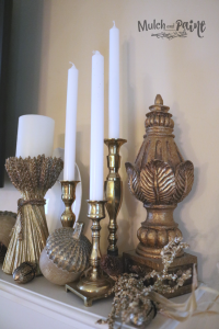 Fall Mantle Decor using white and gold with acorns from Kirklands