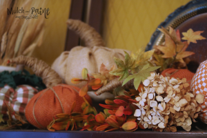 Fall decor with dried hydrangea and burlap pumpkins