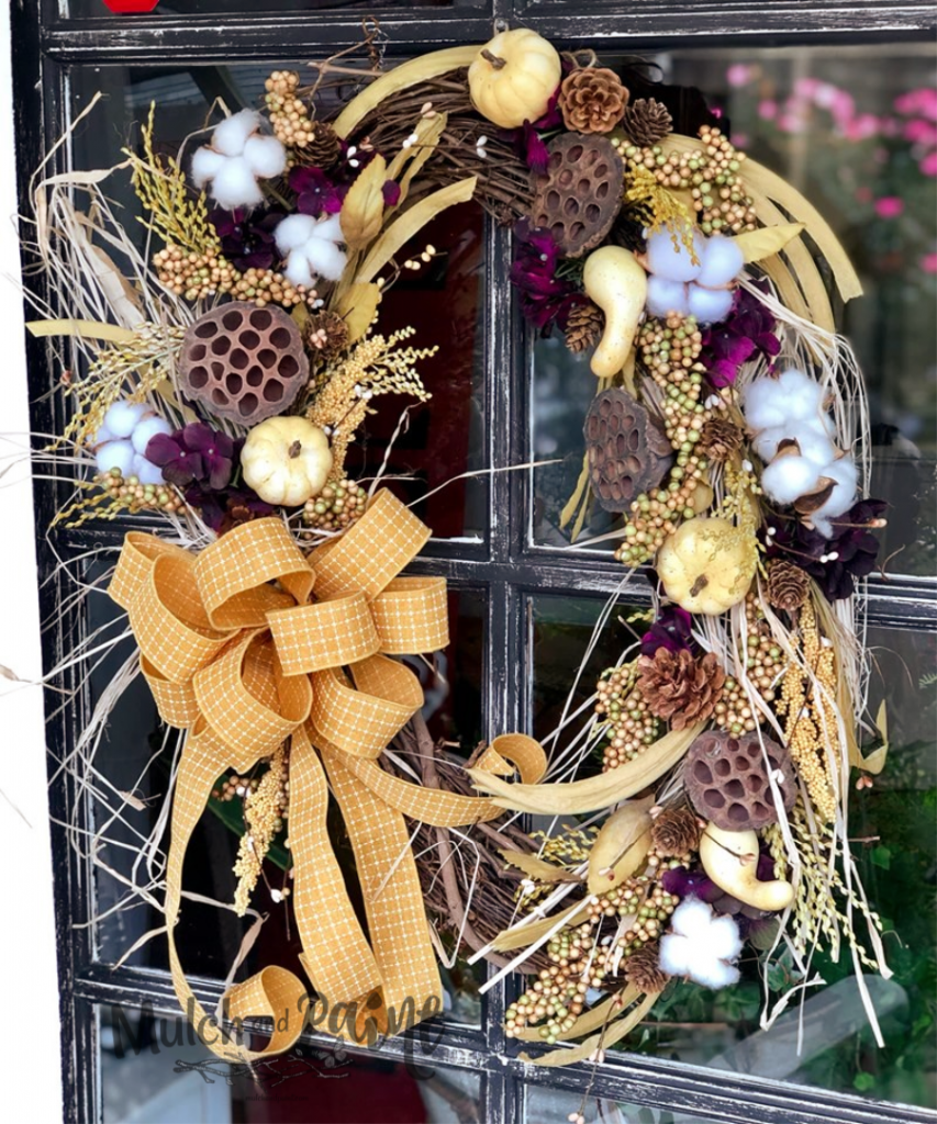 Fall Wreath with Cotton and Mustard Ribbon