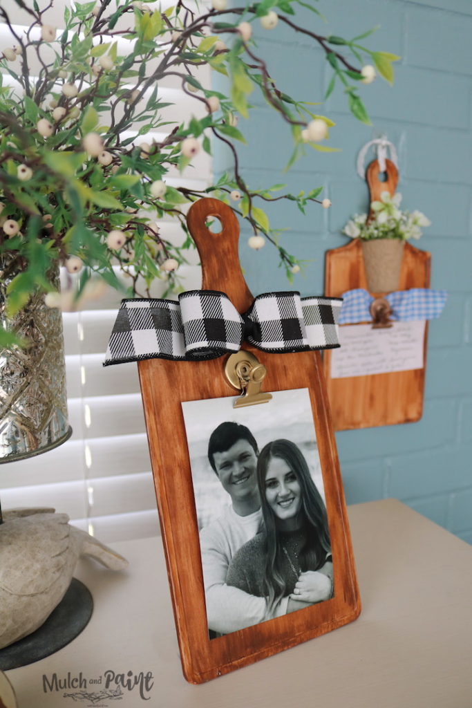 Faux Wood Cutting Board Photo Hanger made from Dollar Tree items